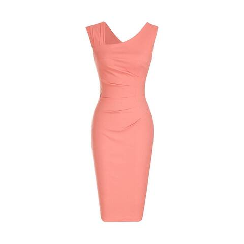 Haute Edition Women's Retro Ruched Sleeveless Bodycon Pencil Dress