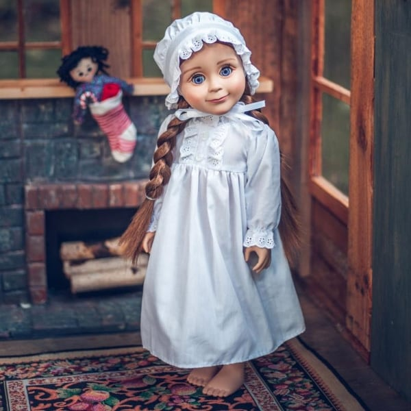 Little House On The Prairie 18 Inch Doll Clothes Cotton Night Gown PJ's And Night Cap Compatible with American Girl Dolls