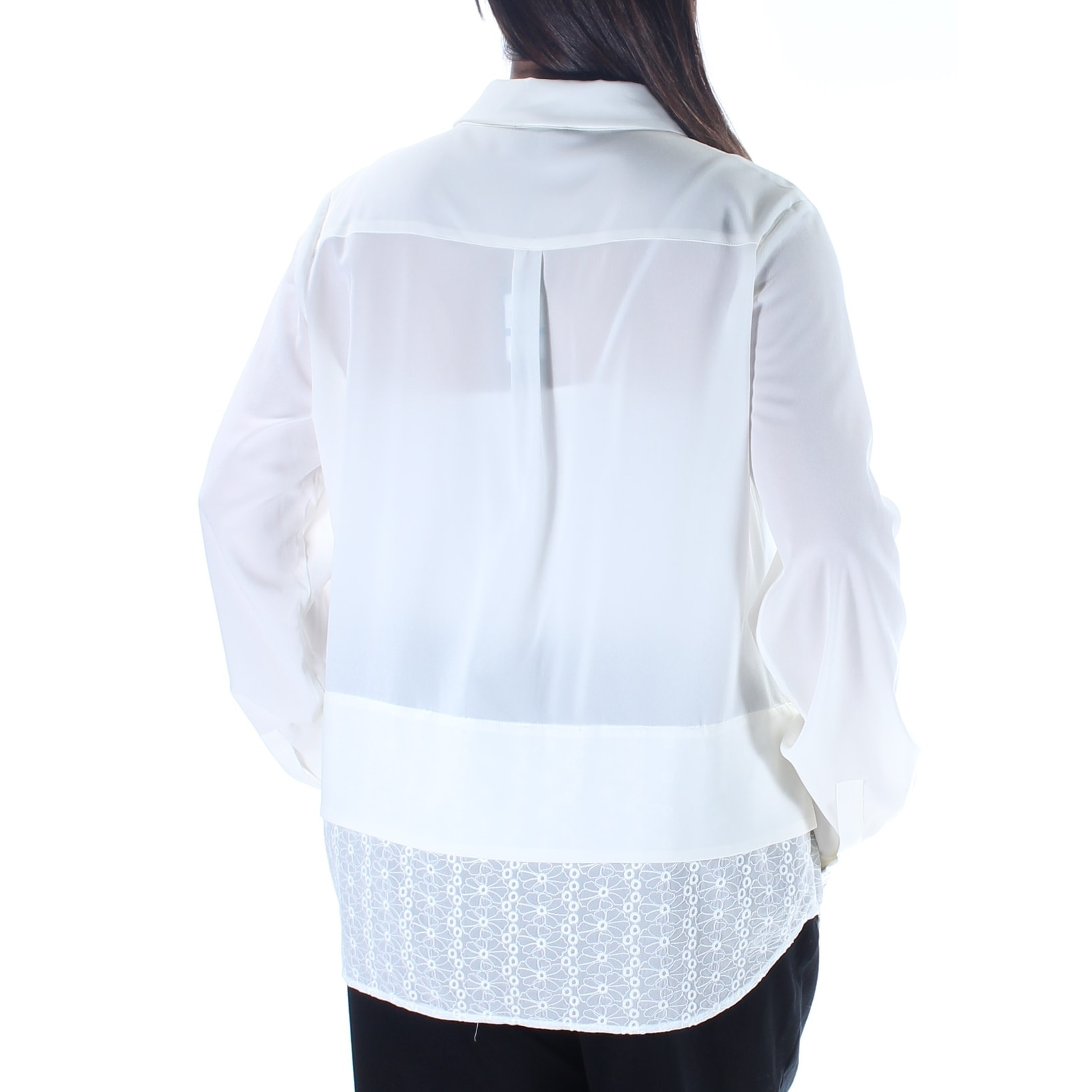 263c349a Shop TOMMY HILFIGER Womens Ivory Cuffed Collared Button Up Top Size: XL -  On Sale - Free Shipping On Orders Over $45 - Overstock - 21329630
