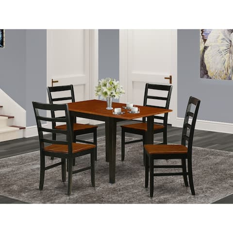 Small Table and Kitchen Chairs with Solid Wood Seat and Ladder Back - Black and Cherry Finish (Pieces Option)