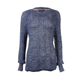 Sanctuary Women's Marled Open-Knit Sweater - Marine - s