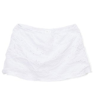 Azul Girls White Solid Color Eyelet Hampton's Weekend Skirt