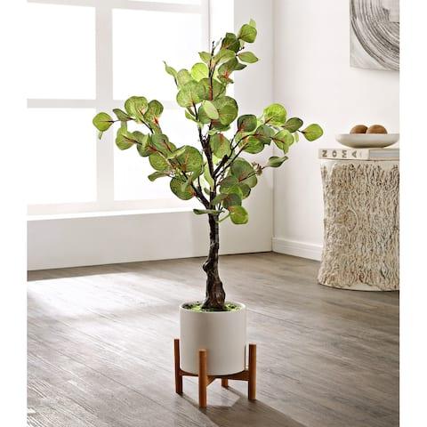"SAFAVIEH Faux Decorative Eucalyptus Potted Artificial Tree - 13.4"" W x 13.4"" L x 34.3"" H"