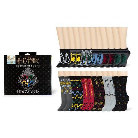 Harry Potter 12 Days of Socks Gift Set for Men & Women - 6 Crew