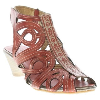 Women's Scroll Leather Sandal Wedges - Coral Or Turquoise