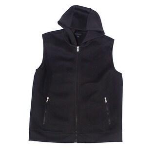 INC Deep Black Mens Size XL Mesh Vest Hooded Full-Zip Jacket