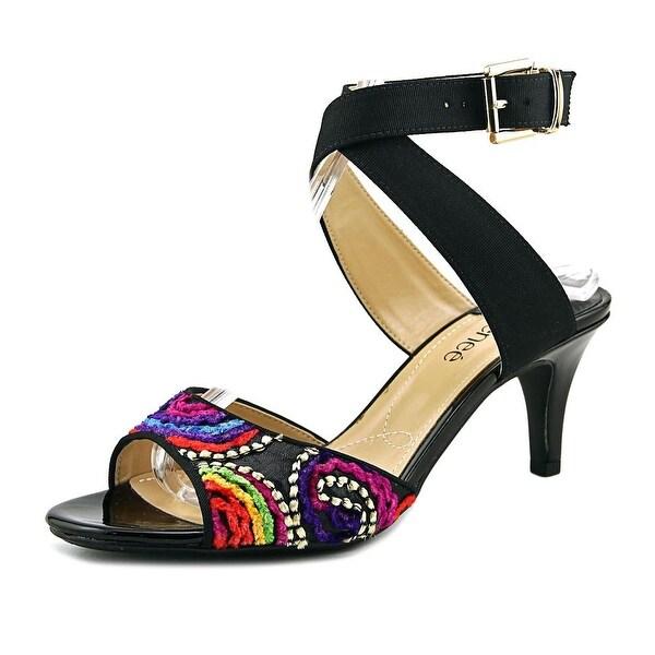 J. Renee SONCINO Women W Open Toe Canvas Black Sandals