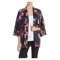Cotton Candy LA Womens Kimono Satin Floral Print
