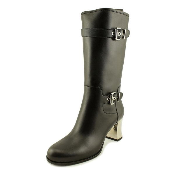 Fendi 8W4980 Women Round Toe Leather Black Mid Calf Boot