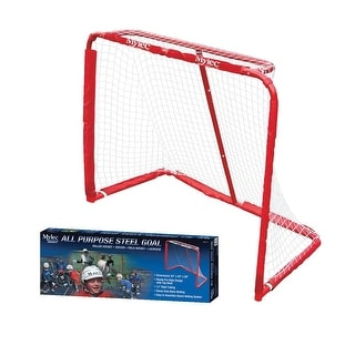 Mylec 52 x 43 x 28 Pro Style All-Purpose Steel Floor Hockey Goal with Nylon Net, Red and White