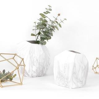 FloralGoods Marble Pattern Irregular Shape Ceramic Vase