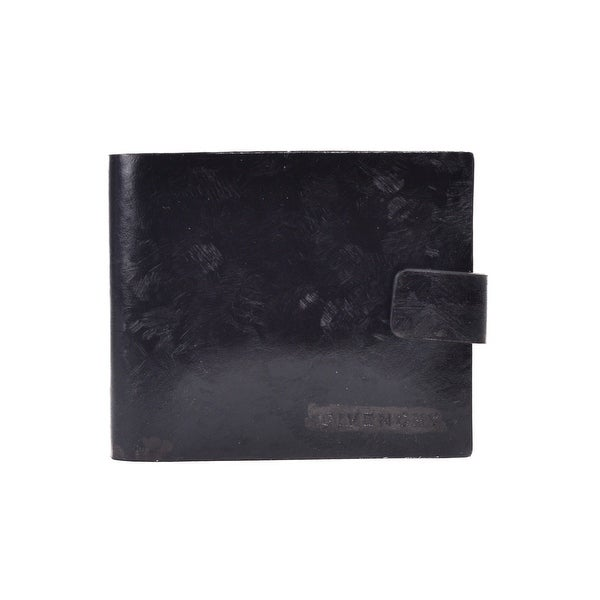Givenchy Black Textured Goat Leather Compact Button Snap Bifold Wallet