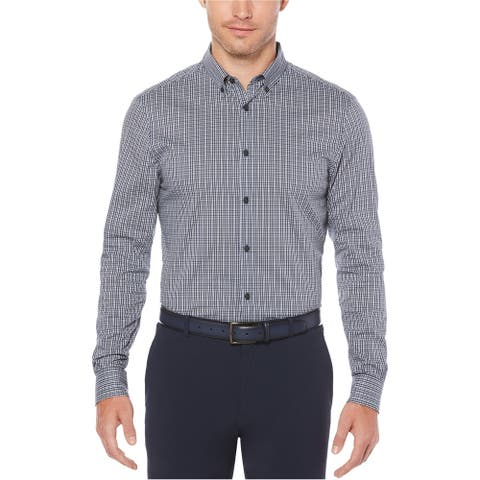 Perry Ellis Mens Stretch Plaid Button Up Shirt