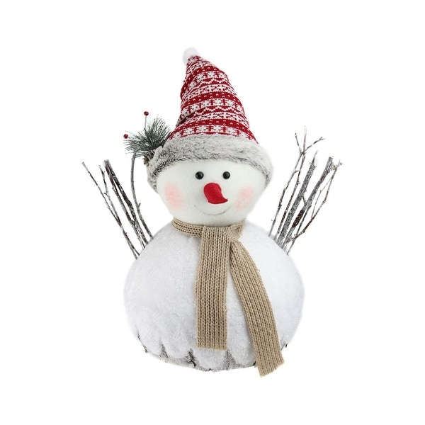 "19.5"" Retro Christmas White and Brown Snowman Christmas Decoration"
