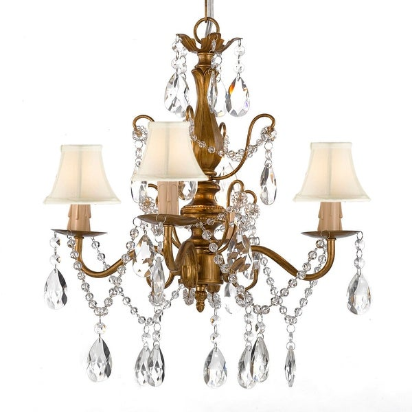 """Wrought Iron and Crystal 4 Light Gold Chandelier H 14"""" X W 15"""" Pendant Lighting Hardwire and Plug In with Shades"""