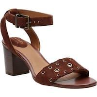 Clarks Women's Ralene Sheen Ankle Strap Sandal Dark Tan Suede