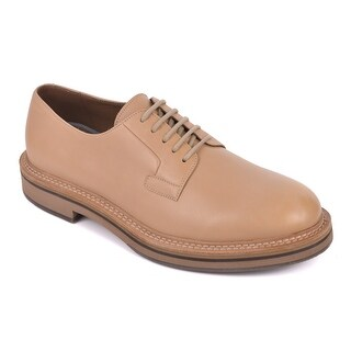 Brunello Cucinelli Mens Tan Polished Leather Lace Up Oxfords