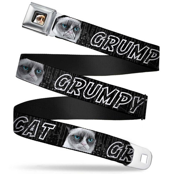 Grumpy Cat Face Full Color Black Grumpy Cat W Face Close Up Black Gray Cat Seatbelt Belt