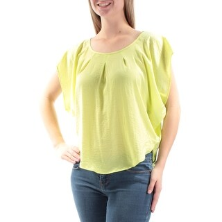 Womens Yellow Dolman Sleeve Scoop Neck Casual Top Size M