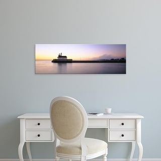 Easy Art Prints Panoramic Images's 'Lighthouse At The Waterfront, Duluth, Minnesota, USA' Premium Canvas Art
