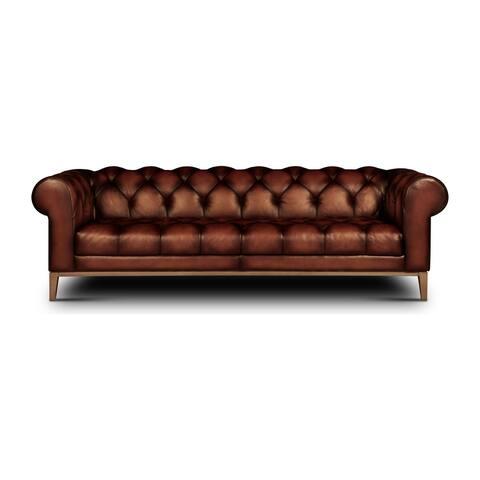 Gaga Top Grain Leather Tufted Chesterfield Sofa