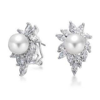Bling Jewelry Sunburst Imitation Pearl CZ Omega Earrings Rhodium Plated Brass - White