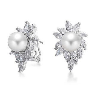 Bling Jewelry Sunburst Imitation Pearl CZ Omega Earrings Rhodium Plated Brass - White