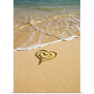 Poster Print entitled Picture of a heart drawn in the sand on a tropical beach