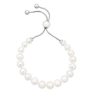 Honora 7-10 mm Freshwater White Pearl Bolo Bracelet with Slider in Stainless Steel