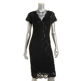 Marina Womens Lace Sequined Party Dress - 4
