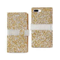 REIKO IPHONE 7 PLUS JEWELRY RHINESTONE WALLET CASE IN GOLD