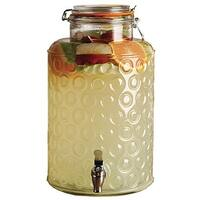 Palais Glassware Clear Glass Beverage Dispenser with Bail & Trigger Locking Lid - 2.5 Gallon (Circle Pattern)