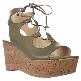 Marc Fisher Smarty Platform Lace Up Sandals, Medium Green