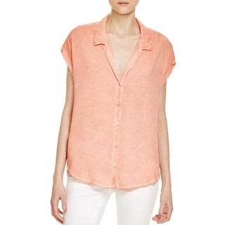 Beach Lunch Lounge Womens Nyla Button-Down Top Hi-Low Cuff Sleeves