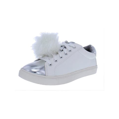 Material Girl Womens Zelda Fashion Sneakers Faux Leather Pom Pom