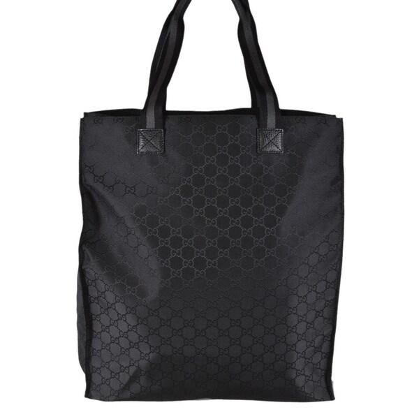 fe32e27c72e Gucci 449177 Black Nylon Tonal GG Guccissima Top Handle Tall Tote Bag Purse