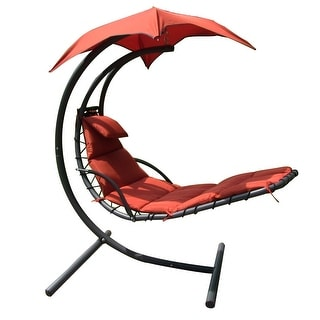 Sunnydaze Floating Chaise Lounger Swing Chair with Canopy, 55 Inch Wide - Orange