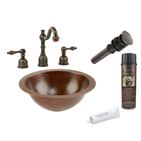 Premier Copper Products BSP2_LR12FDB Bathroom Sink, Widespread Faucet and Accessories Package
