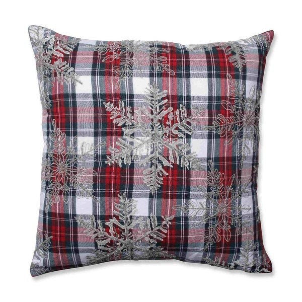 """18"""" Christmas Snowflakes Red, Green and Silver Plaid Decorative Throw Pillow - RED"""