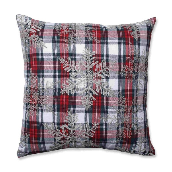 """18"""" Christmas Snowflakes Red, Green and Silver Plaid Decorative Throw Pillow"""