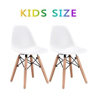 Kids Dining Chair Set Wood Dowel Legs Molded ABS Plastic Seat armless White