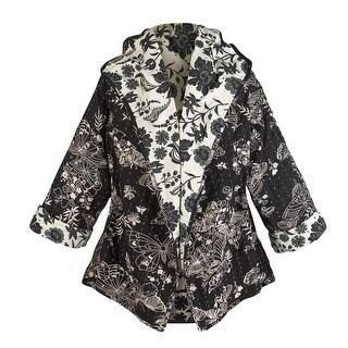 Women's Reversible Kantha Black And White Printed Circle Jacket