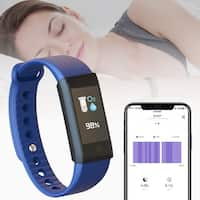 Indigi Fitness Monitoring Wristband & Watch - Heart Rate / Blood Pressure / Oxygen Monitoring / Pedometer Activity Tracker(Blue)
