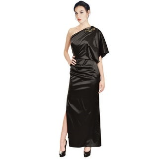 Aidan Mattox Luxe Satin One Shoulder Sequin Draped Eve Gown Dress - 6