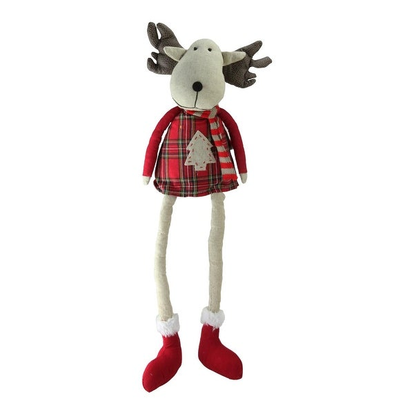 "19.75"" Plaid Elk Sitting with Dangling Legs Tabletop Decoration - RED"