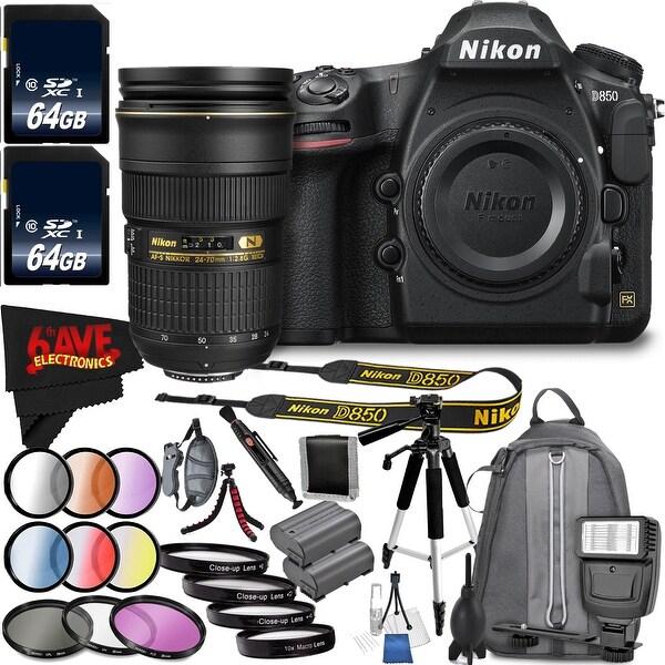 Nikon D850 DSLR Camera (Body Only) 1585 + Nikon 24-70mm f/2.8G ED Lens + Vivitar 6-Piece 77mm Graduated Color Filter Kit Bundle