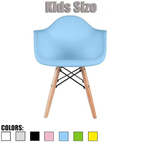 2xhome Designer Plastic Chair with Arms Armchair Eiffel Leg Dowel For Kitchen Desk Dining Activity School Student 4 5 6 Years
