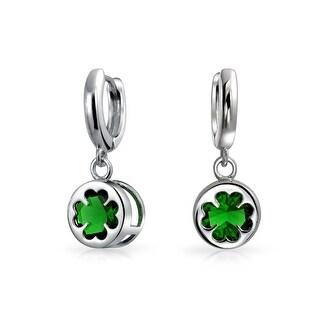 Sterling Silver Four Leaf Clover Green Glass Drop Earrings