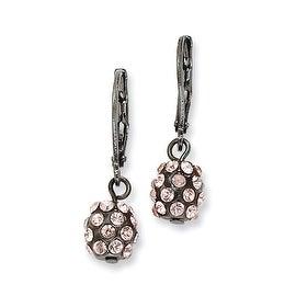 Black IP Purple Crystal Bead Cluster Drop Earrings