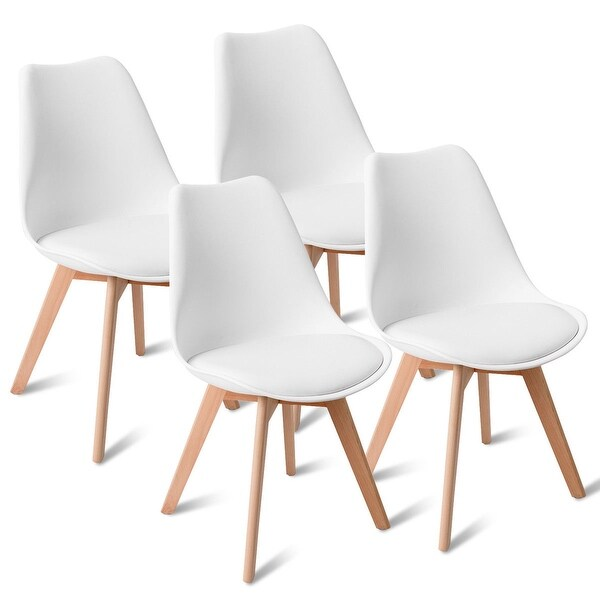 Gymax Set of 4 Mid Century Modern Style Dining Side Chair Upholstered. Opens flyout.